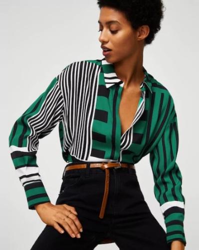 contrast blouse