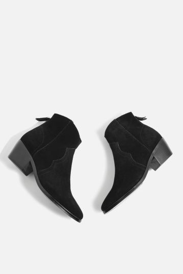 topshop black betty western ankle boots
