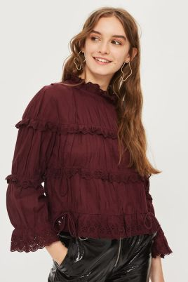 topshop broderie ruffle high neck top
