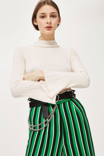 topshop flute sleeve roll neck top