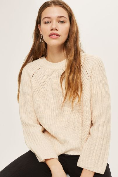topshop pointelle boxy ribbed jumper