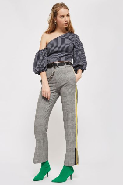 topshop striped one shoulder top