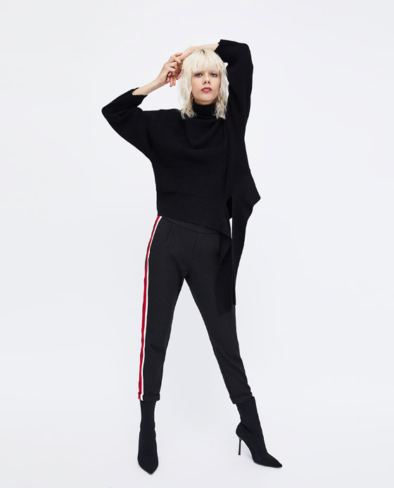 black with red stripe trouser