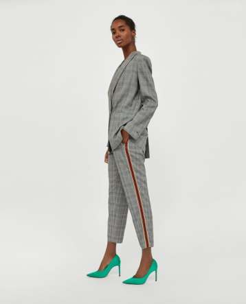check trouser with stripe
