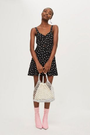 black polka dress topshop